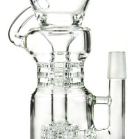 Glass Bongs Dab Oil Rigs Showerhead And Double Stereo Perc Water Bong 12.2 Inch Glass Water Pipes Dabs Rigs Green Hookahs WP149-G