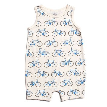 Blue Bicycles Tank Romper by Winter Water Factory