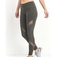 FINAL SALE - Active Hearts - Moto Block Mesh Full Length Sports Leggings in Olive