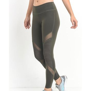 Active Hearts - Moto Block Mesh Full Length Sports Leggings in Olive