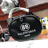 BALENCIAGA Fashion Women Leather Letter Print Tote Handbag Shoulder Bag Crossbody Satchel Black I-WXZ2H