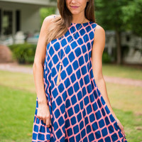 Saw You There Dress, Navy-Coral