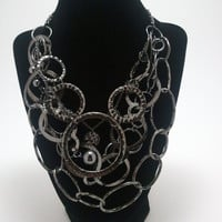 Beautiful, Gunmetal, Gray, Industrial, Metal, Layered, Chain, Statement, Necklace
