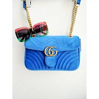 Vsgirlss GUCCI Marmont Fashion New Women Satchel Velvet Shopping Leather Metal Chain Shoulder Bag Crossbody Blue