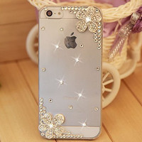 five styles,case cover for iphone 5 5s iphone 4 4s, Handmade PC Rhinestone crystal transparent mobile phone  hard back case