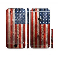 The Wooden Grungy American Flag Sectioned Skin Series for the Apple iPhone 6