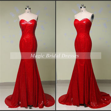 Gorgeous Red Sequins Evening Dress 2015 Fashion Designer Celebrity Dresses Sweetheart off the shoulder Mermaid Prom Dress Long Formal Dress