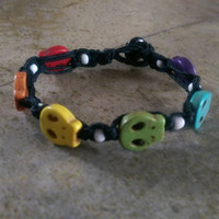 Rainbow, Hemp Bracelet, Unisex, Gay Pride, Skulls, Everyday Jewelry, Gift for Her, Gift for Him, Free USA Shipping