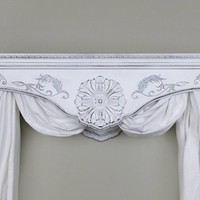 Bed Crown Canopy / Crib Crown / Teester / Cornice / Cherry Hard Wood / White Distressed / Shabby Chic / Vintage