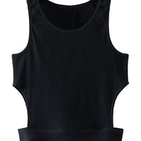 Black Cut Out Ribbed Crop Top
