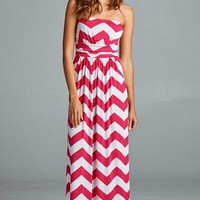 Keep Them Coming Strapless Chevron Maxi Dress