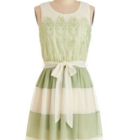 ModCloth Mid-length Tank top (2 thick straps) A-line Early to Sunrise Dress in Fern