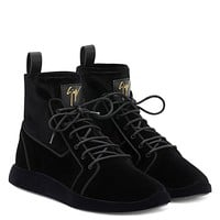 Giuseppe Zanotti Gz Cesar Black Velvet Stretch High-top Sneakers