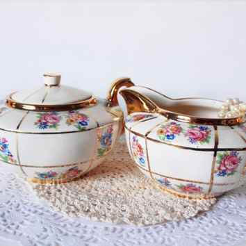 Sudlow Tea Set English Porcelain Cream and Sugar Fine China Floral Tea Shabby Chic Tea Party China Cabinet Decor Wedding Gift for Her