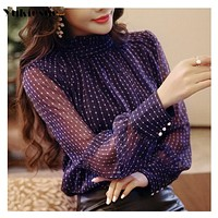 2019 summer woman top blusa mujer lace chiffon blouse women shirt long sleeve womens tops and blouses ladies plus size