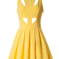 Yellow Cutout Skater Cocktail Summer Dress