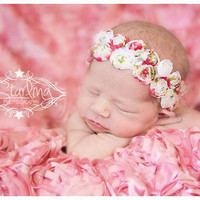 Juliette Newborn Baby Rosettes headband, all Ages - children newborn girl photography props - flowergirl princess - vintage couture boutique