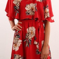 Print Mini Bateau Neck Off Shoulder Sexy Short Sleeve Empire Waist Dresses
