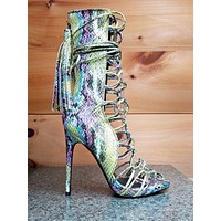 Nelly Bernal Paris Green Snake Open Toe Lace Up 4.75 Heel Ankle Boot