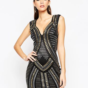 ASOS NIGHT Armour Sweetheart Mini Bodycon Dress