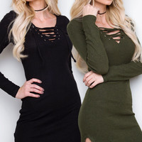 Frenzy Lace Up Dress Set - Black & Dark Olive