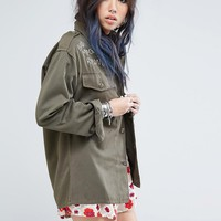 Milk It Vintage Oversized Military Shirt Jacket With Bad Moon Rising Embroidery