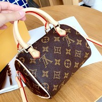 LV Tide brand retro classic old flower female Boston single shoulder diagonal package