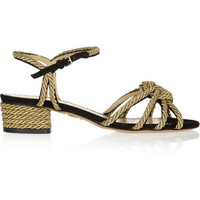 Charlotte Olympia | It's Knot You, It's Me metallic rope-embellished suede sandals | NET-A-PORTER.COM