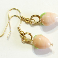 Glass Charm Earrings: Peach Pear Lampwork Bead Earring - Womens Jewelry