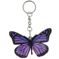 Purple Butterfly Mirrored Acrylic Keychain