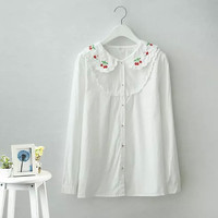 White Embroidered Lace Long-Sleeve Shirt