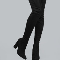 Suede Pointed Thigh Boots BLACK | MakeMeChic.COM