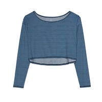 Women's Activewear Long Sleeve Crop Top - Print from Lands' End