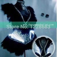 Bright New Dazzel 2015 Women Black White Purple Feather Rhinestones Led Bodysuit Sexy Led Lights Costumes For Dancing / Led Light Suit Macchar Cosplay Catalogue