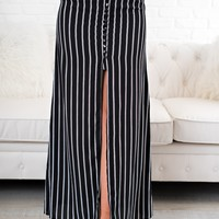 Get In Line Striped Maxi Skirt (Black)
