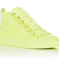 Indie Designs Balenciaga Inspired Fluorescent Yellow Wrinkled Arena High Top Sneakers