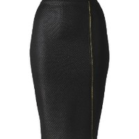Quilted Zip Front Pencil Skirt