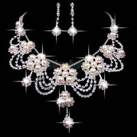 Faux Pearl Necklace Earring Jewelry Set For Bride Bridal Wedding = 1929973572