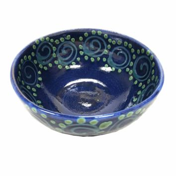 Earthworks Handmade Pottery - Soup Bowl (Blue Squirl)