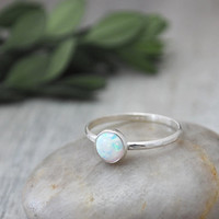 Opal Stacking Ring in Sterling Silver - Handcrafted Artisan Silver Ring - Sterling Silver Opal Ring Stack