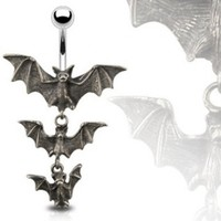 """Gothic Tri-Vampire Bats Dangle Navel Belly Button Ring - 14GA 3/8"""" Long (Sold Ind.)"""
