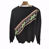 Fendi Fashion new more letter print women long sleeve top sweater Black