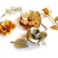 Vintage Flower Brooch Lot - Rose Roses -Floral Broach Pin Collection - Wear Resell Repurpose -  Rhinestone  - Wedding Bridal -