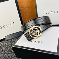 Gucci Explosive Letters Boutique Buckle Head Crocodile Pattern Fashion Belt-2