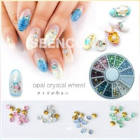Japanese nail art fashion 1 wheel of 6 colors mixture opal color pointy back nail art glass rhinestone glitter crystal 120pcs