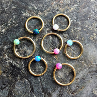 20g (0.8mm) Opal Stone 14Kt GOLD Plated CBR (BCR) Captive Bead Ring Earring Cartilage Piercing Jewelry
