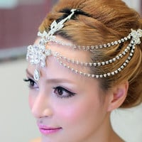 Clear crystal dangle forehead headband tiara crown bridal pageant prom headpieces wedding teardrop hair jewelry accessories 1pc