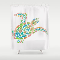 "Sea Turtle Shower Curtain - ""Surf Turtle"" -  Watercolor Art,  Surf, beach, surfer, tribal, spring and summer teen decor, coastal bathroom"