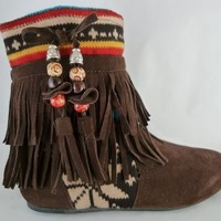Women Boots Ankle High Flat Comfortable Fashion Cute Fringe Sweater Design