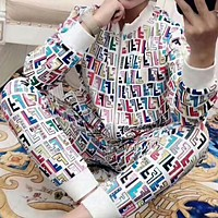 """Hot Sale """"FENDI"""" Popular Women Casual Personality Full Colorful F Letter Print Long Sleeve Top Sweater Pants Sweatpants Set Two-Piece Sportswear White I-AF-MMOH"""